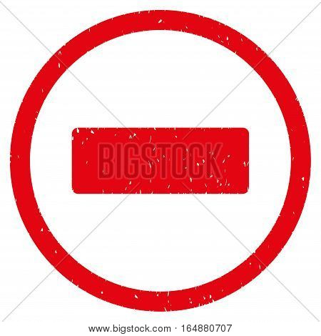 Minus rubber seal stamp watermark. Icon vector symbol with grunge design and corrosion texture. Scratched red ink emblem on a white background.