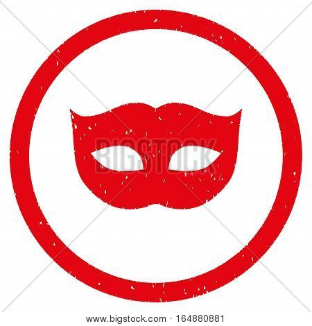 Privacy Mask rubber seal stamp watermark. Icon vector symbol with grunge design and unclean texture. Scratched red ink emblem on a white background.