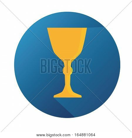 Vector Flat Gold Trophy With Long Shadow And Blue Button