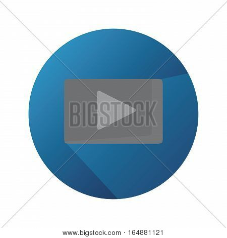 Vector Flat Play Button With Long Shadow And Blue Background