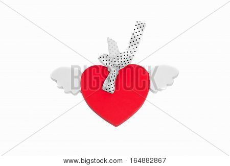 Red Wooden Heart On White Background