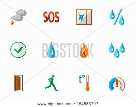Alarm, fire detectors, humidity, motion, temperature, icons, colored, flat. Colored vector image with shadow on white background. Vector clip art for sensors.