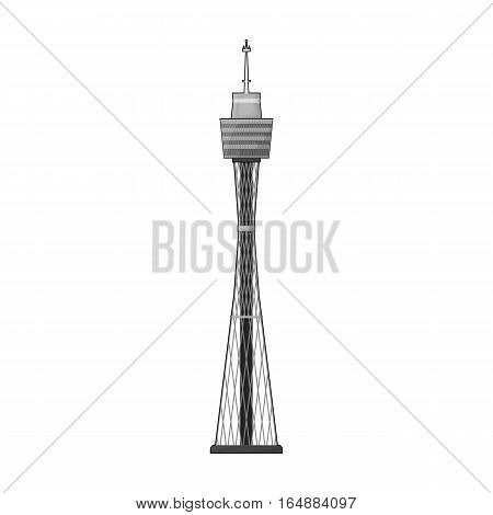 Sydney Tower icon in monochrome design isolated on white background. Australia symbol stock vector illustration.