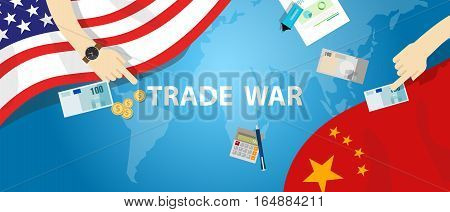 trade war America China tariff business global exchange international vector