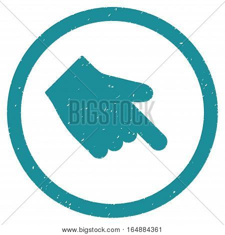 Index Finger Right Down Direction rubber seal stamp watermark. Icon vector symbol with grunge design and dirty texture. Scratched soft blue ink emblem on a white background.