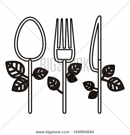 Spoon knife and fork icon. Cutlery dishware tool and utensil theme. Isolated design. Vector illustration