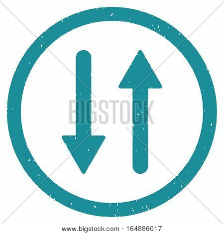 Vertical Exchange Arrows rubber seal stamp watermark. Icon vector symbol with grunge design and corrosion texture. Scratched soft blue ink sticker on a white background.