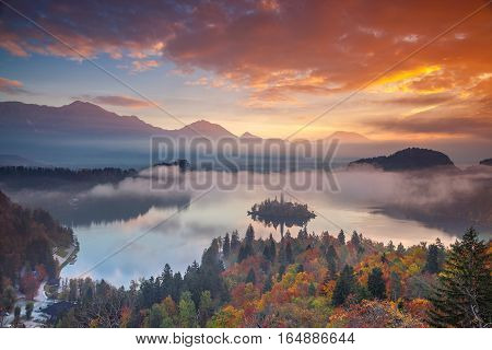 Lake Bled in Autumn. Lake Bled with St. Marys Church of the Assumption on the small island. Bled, Slovenia, Europe.
