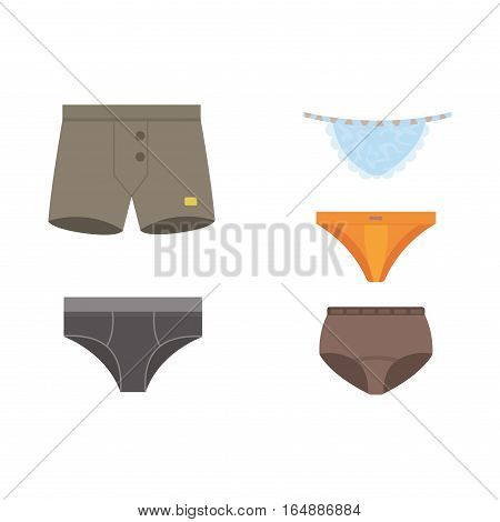 Underwear clothes for man and woman vector icon isolated for design. Elegance bikini line accessories. Beautiful body coat sensuality panties collection.