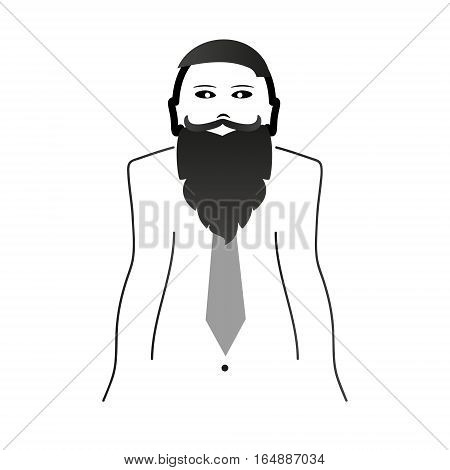Weird Hipster Head And Body With Big Beard And Mustache And Tie Black Icon Eps10