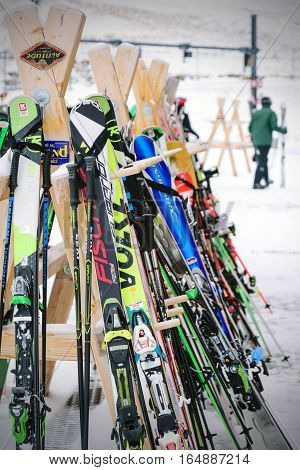 Jungfrau,Switzerland-Jan 4,2017:Closeup Equipment for skiing, a sport popular in winter, in Switzerland and in countries with colder climates and snow.