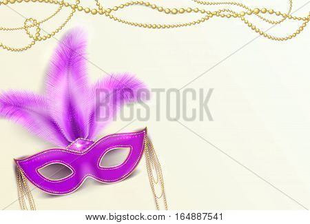 Vector illustration of Mardi Gras holiday background with violet luxury ornate Venetian carnival mask with colorful purple feathers and gold beads for poster template
