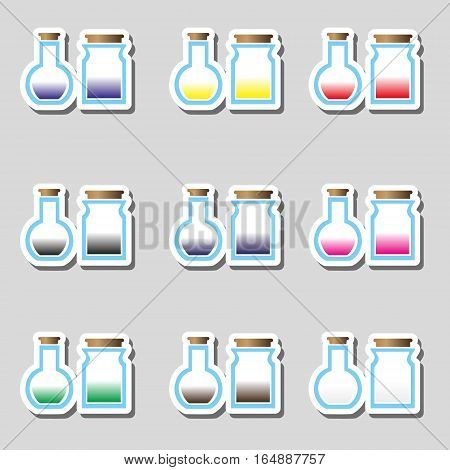 Science Laboratory Glass Flask With Various Color Liquid Stickers Icons Eps10
