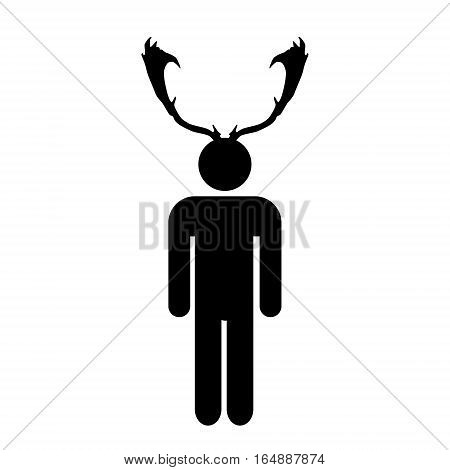 Cuckold Man With Antlers Black Simple Icon Eps10