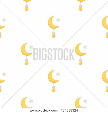 Crescent and Star icon in cartoon style isolated on white background. Religion pattern vector illustration.