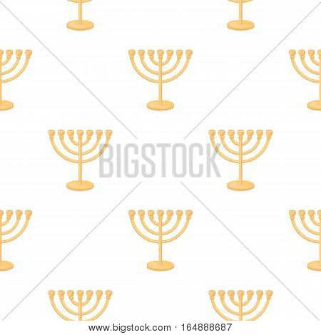 Menorah icon in cartoon style isolated on white background. Religion pattern vector illustration.