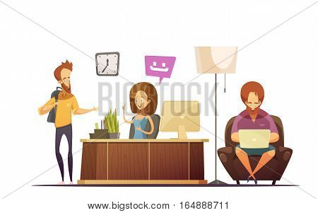 Hostel reception cartoon design concept with administrator talking with visitors at workplace flat vector illustration