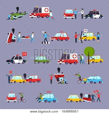 Road accident icons set with car crash symbols flat isolated vector illustration