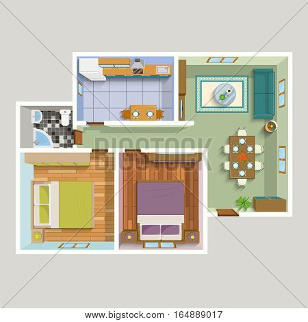 Top view apartment interior detailed plan with lounge kitchen bathroom two bedrooms furniture vector illustration