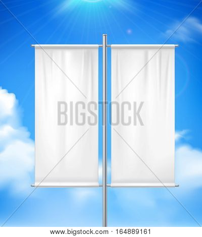 White blank realistic double pole banner advertisement flag outdoor with blue sunny cloudy  sky background vector illustration