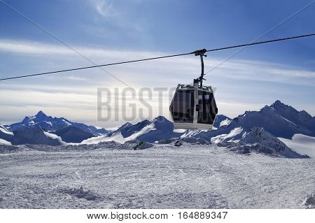 Ski Lift In Snow Winter Mountains At Evening
