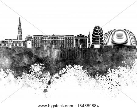 Leicester skyline in artistic abstract black watercolor