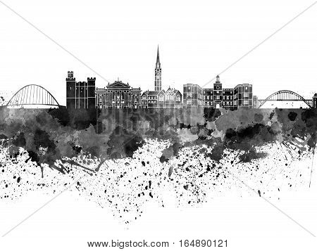 Newcastle skyline in artistic abstract black watercolor