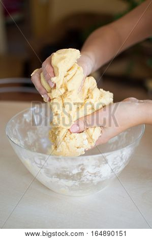 Woman kneads dough for the preparation of raw homemade food. handmade. Free place.