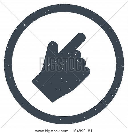 Index Finger Right Up Direction rubber seal stamp watermark. Icon vector symbol with grunge design and corrosion texture. Scratched smooth blue ink sign on a white background.