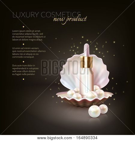 Beauty cosmetic conceptual background with pearls and dropping tube inside realistic shell with editable advertising text vector illustration