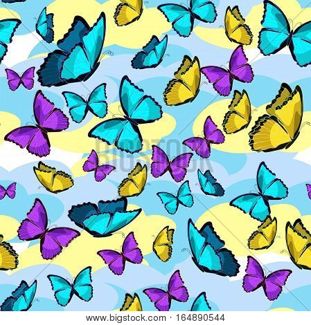 seamless pattern the butterfly morpho monarch. vector illustration