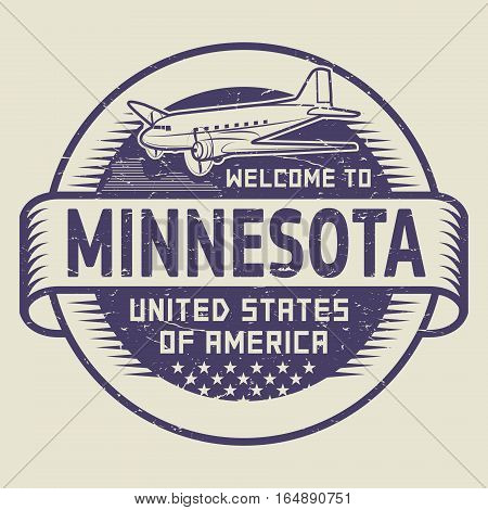 Grunge rubber stamp or tag with airplane and text Welcome to Minnesota United States of America vector illustration