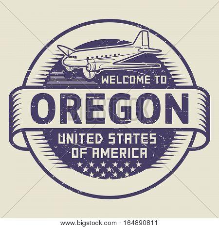 Grunge rubber stamp or tag with airplane and text Welcome to Oregon United States of America vector illustration