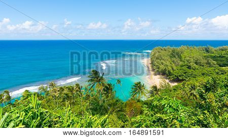 Beautiful ocean view in Kalalau trail, Kauai Island, Hawaii
