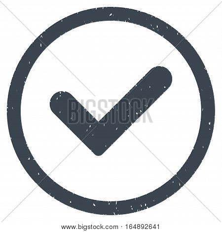 Yes rubber seal stamp watermark. Icon vector symbol with grunge design and dust texture. Scratched smooth blue ink sign on a white background.
