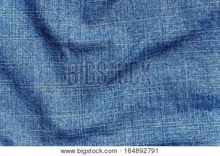 Blue Color Denim Textile Cloth Surface.