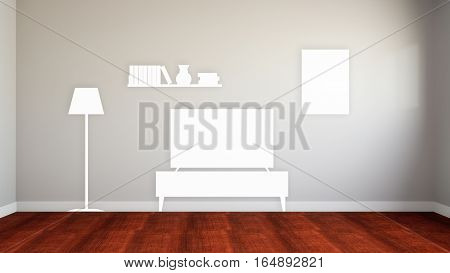 empty wall of the lost home equipment 3d illustration