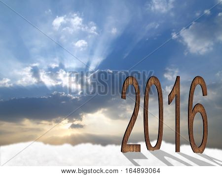 2016 design with wood on snow hill under sky and sunset