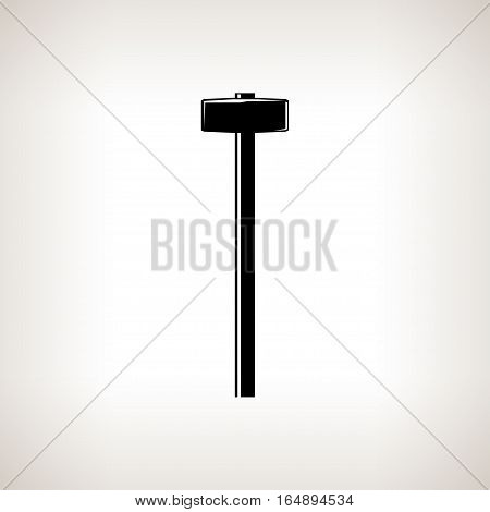 Silhouette sledgehammer or hammer, claw hammer on a light background, black and white illustration