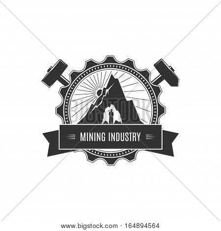 Vintage Emblem of the Mining Industry, Miner Holding a Pickax on Background of the Sunburst and Mountain