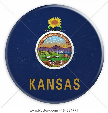 Vintage US State Button: Dirty Desaturated Kansas Flag Badge 3d illustration on white background
