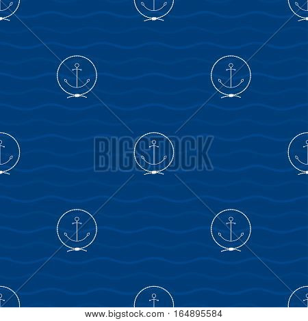 Seamless Pattern with an Anchor Emblem on a Background of Waves , Anchor in the Middle of a Rope on a Blue Background, Seamless Pattern with Marine Element for Web Design or Wallpaper or Fabric
