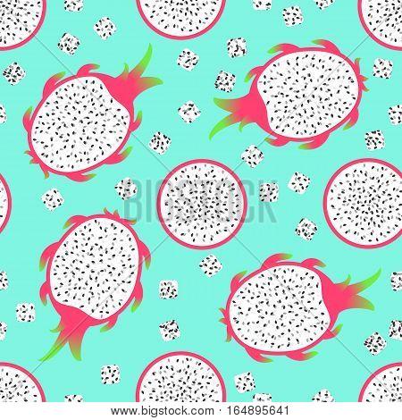 Pitaya - seamless pattern. Exotic fruit - pitahaya dragon fruit. Summer print for textiles. Cartoon vector illustration.