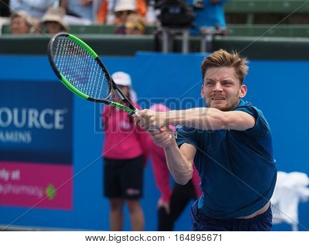 Melbourne Australia - January 11 2017: Belgian Tennis player David Goffin preparing for the Australian Open at the Kooyong Classic Exhibition tournament