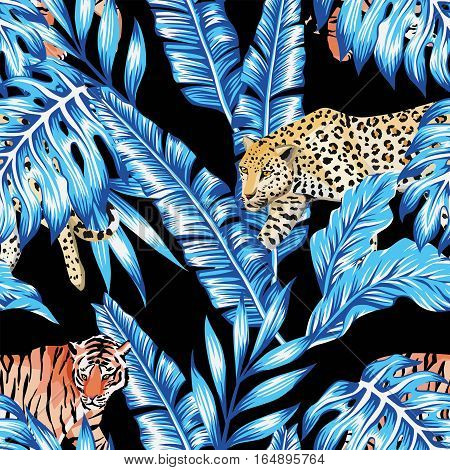 Seamless composition of tropical leaves in trendy blue color with animal tiger and a leopard on a black background. Pattern wallpaper vector