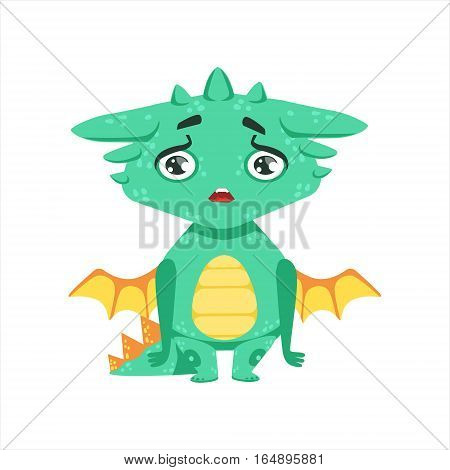Little Anime Style Baby Dragon Upset And Disappointed Cartoon Character Emoji Illustration. Vector Childish Emoticon Drawing With Fantasy Dragon-like Cute Creature.