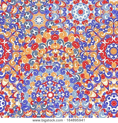 Seamless colorful floral mandala ethnic pattern in oriental style. Round doilies with red, blue, violet, brown curls and swirls weaving in arabesque traditional lace ornaments. Vector illustration.