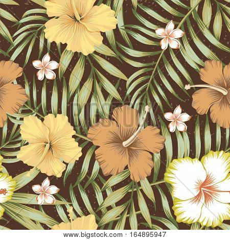 Seamless composition of tropical leaves flowers of hibiscus and frangipani in a retro style on a brown background. Wallpaper vector illustration