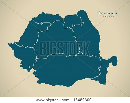 Modern Map - Romania With Regions Ro Illustration