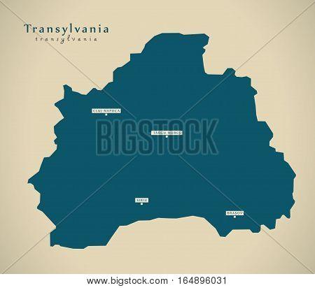 Modern Map - Transylvania Romania RO illustration poster